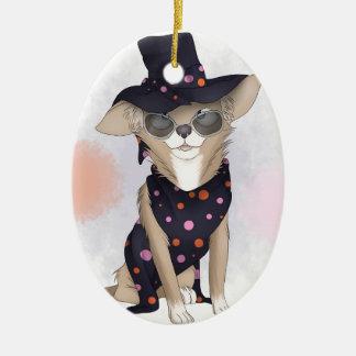 Funky dog ceramic oval ornament