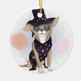 Funky dog round ceramic ornament