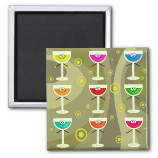 Funky Drinks Square Magnet