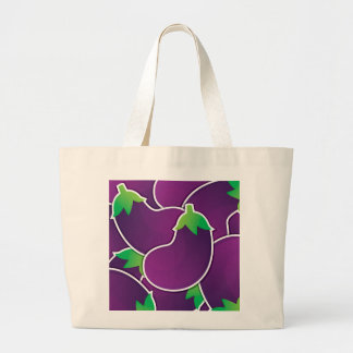 Funky eggplant large tote bag