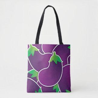 Funky eggplant tote bag