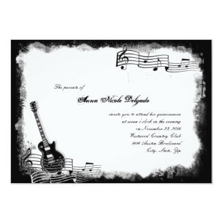 Funky Electric Guitar Music Quinceanera Invitation