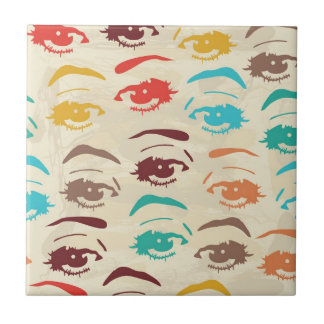 Funky Eyes Graphic Design Ceramic Tile