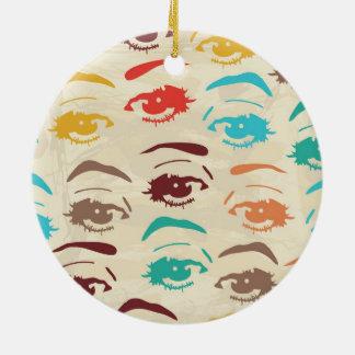 Funky Eyes Graphic Design Round Ceramic Ornament