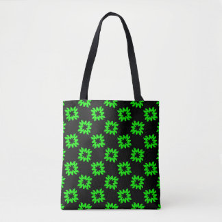 Funky Fancy Green Flowers on Black Pattern Tote Bag