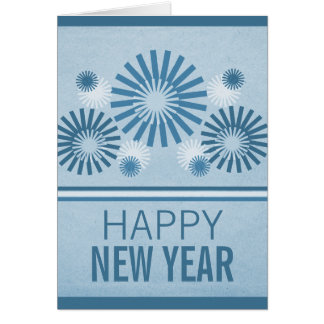Funky Fireworks New Years Card, Blue Card