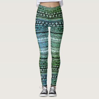 Funky Fish and Ferns Pattern Leggings