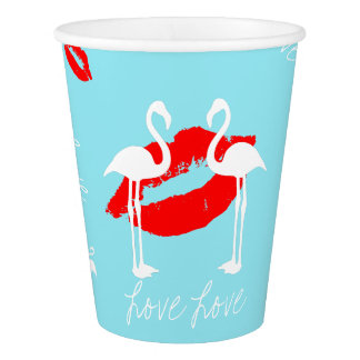 Funky Flamingo Couple Love Kiss Red Lips Paper Cup