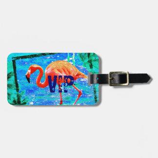 funky flamingo VIP travel luggage tag