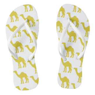 Funky flip flips camel yellow flip flops