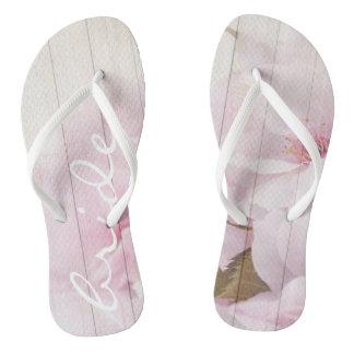 Funky flip flops bride wood with flowers 1