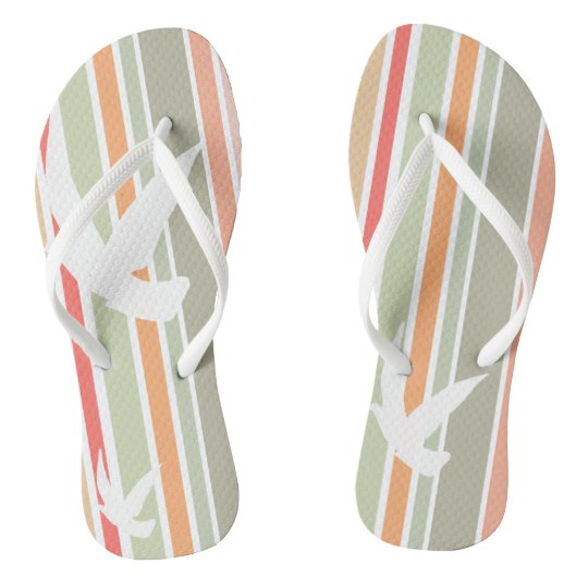 Funky flip flops stripes and birds