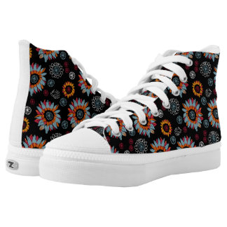 Funky Floral Black Background High Tops