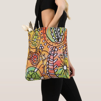 Funky Floral Circles Stripes Abstract Doodle Art Tote Bag