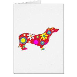 Funky floral dachshund dog greeting card