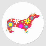 Funky floral dachshund dog stickers, gift