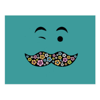 Funky Floral Mustache Postcard