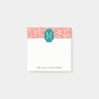 Funky floral pattern with Custom Teal Monogram Post-it Notes