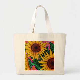 Funky Floral sunflower Tote Bag
