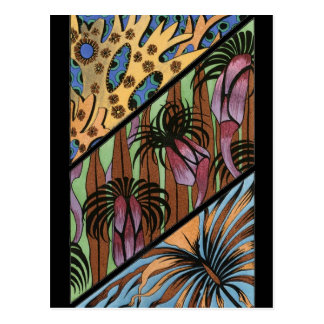 Funky Floral Tribal Print Postcard