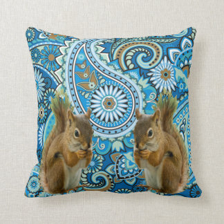 Funky Florals Squirrel Throw Pillow
