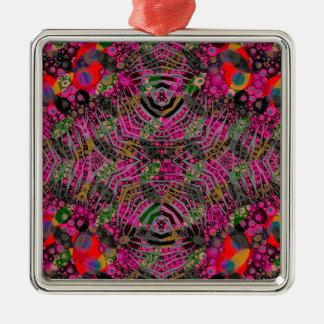 Funky Florescent Zebra Silver-Colored Square Ornament