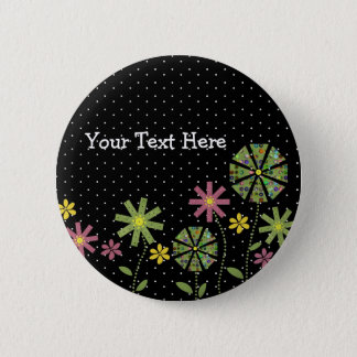Funky flower border on black background with white 2 inch round button