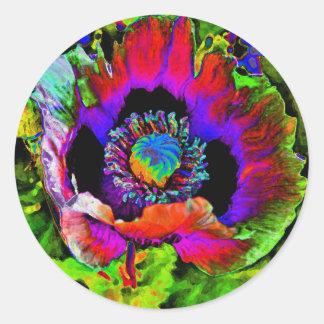Funky Flower Classic Round Sticker