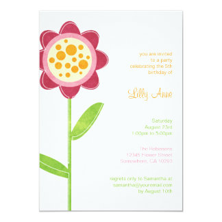 Funky Flower Girls Birthday Party Invitations