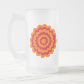 Funky Flower in Orange and Red. Frosted Glass Beer Mug