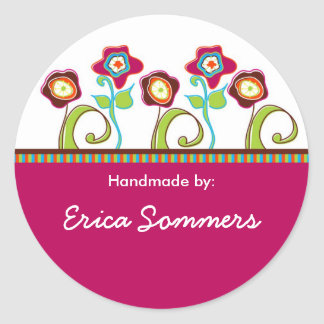 "Funky Flowers ""Handmade"" Labels"