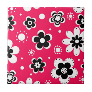 Funky Flowers in Hot Pink Ceramic Tiles