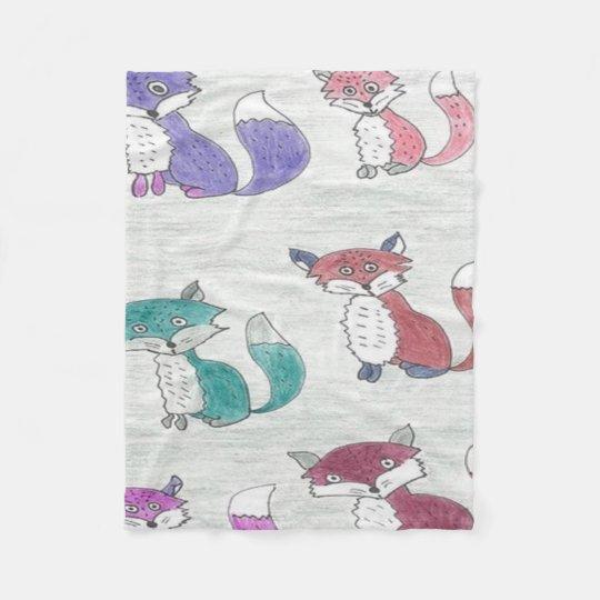 Funky Foxes Pattern Fleece Blanket