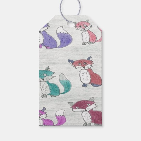 Funky Foxes Pattern Gift Tags
