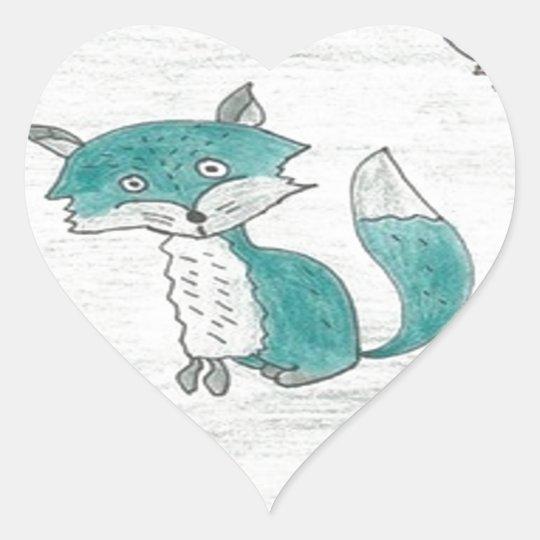Funky Foxes Pattern Heart Sticker