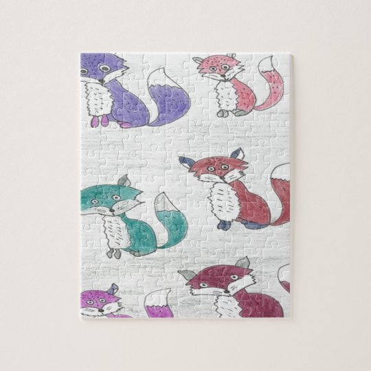 Funky Foxes Pattern Jigsaw Puzzle