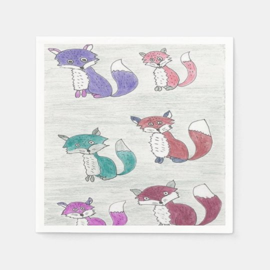 Funky Foxes Pattern Paper Napkin