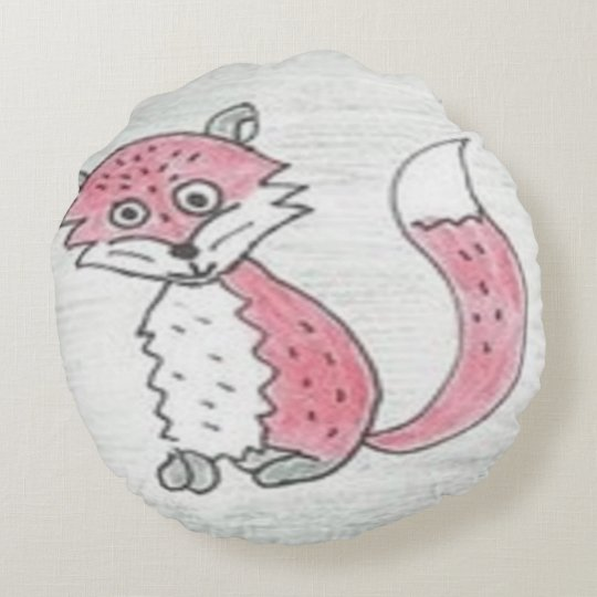 Funky Foxes Pattern Round Pillow
