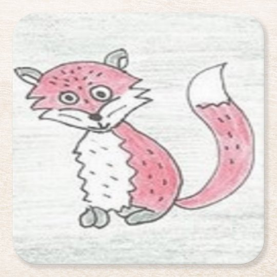 Funky Foxes Pattern Square Paper Coaster