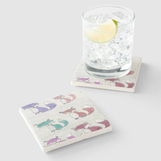 Funky Foxes Pattern Stone Coaster