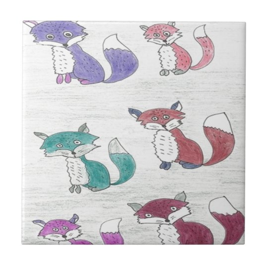 Funky Foxes Pattern Tile