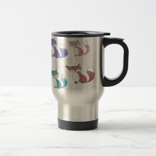 Funky Foxes Pattern Travel Mug
