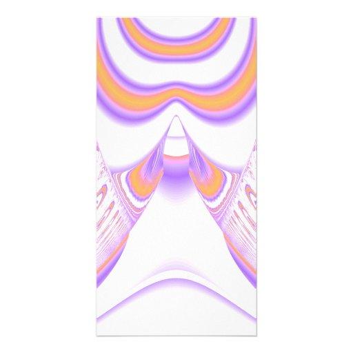Funky Fractal Pattern. Orange and Purple. Custom Photo Card