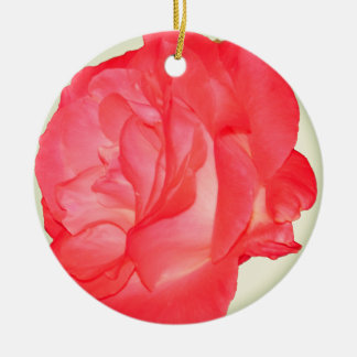 Funky Fresh Floral - Pink Rose Round Ceramic Ornament