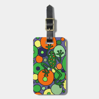 Funky Frog and Bubbles Art Design Luggage Tag