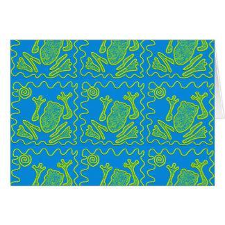 Funky Frog Blue Green Toad Kids Doodle Art Card