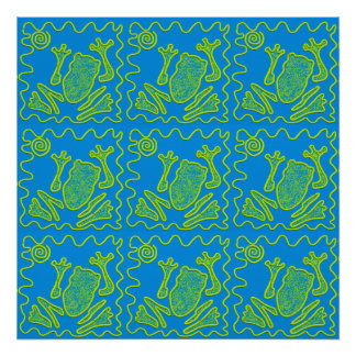 Funky Frog Blue Green Toad Kids Doodle Art Poster