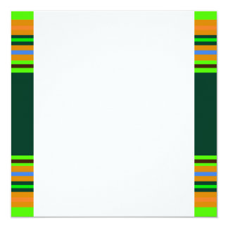 """Funky Frog Orange Green Striped Novelty Gifts 5.25"""" Square Invitation Card"""