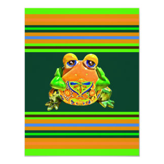 Funky Frog Orange Green Striped Novelty Gifts Personalized Invitation