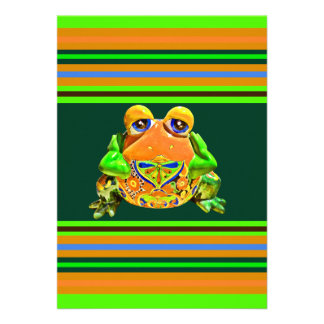 Funky Frog Orange Green Striped Novelty Gifts Invitation